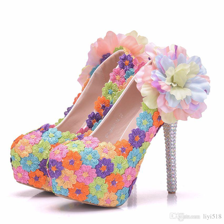 a30bf871c100 New Aesthetic Multicolour Lace Flower Women Pumps Wedding Party Heels  Wedding Shoes Round Toe Formal Dress Shoes Platform Thin Heels Silver High  Heels ...