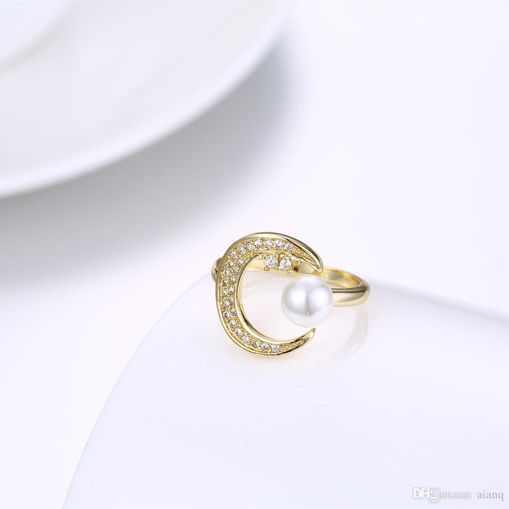 Luxury 18k Solid Yellow Gold Moon Shape Ring Lady Crystal Pearl Ring Bride Wedding Ring Jewelry Rings For Women