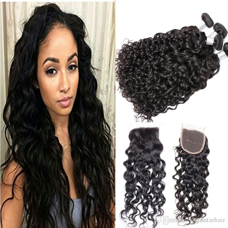 Brazilian Water Wave With Closure Unprocessed Virgin Hair With