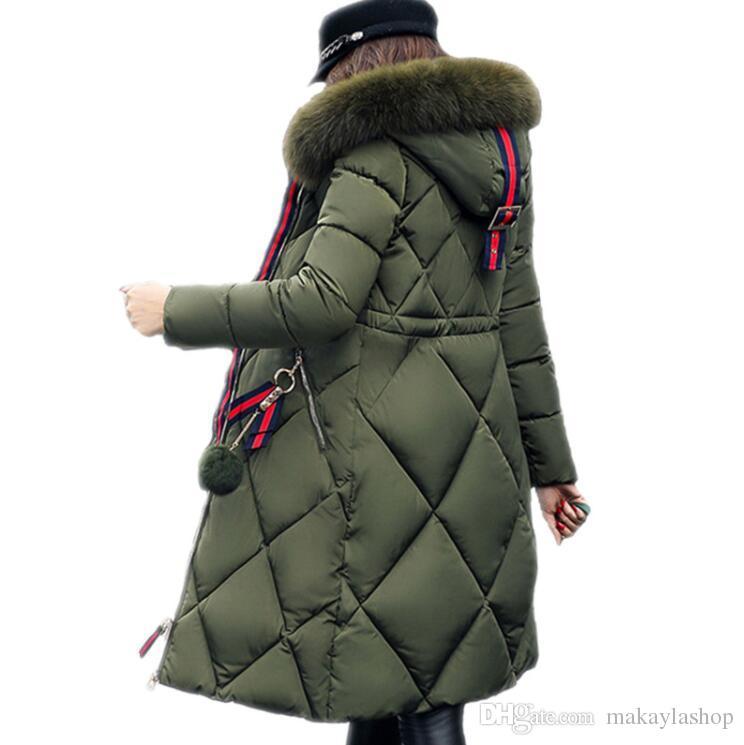Großer Pelzwintermantel verdickte Parkafrauen, die dünnen langen Wintermantel unten Baumwolldamen hinunter Parka unten Jacke Frauen nähen