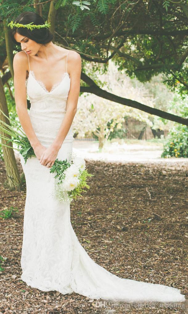 2016 Sexy Backless Wedding Dresses Lace Spaghetti Sheath Garden Bohemian Beach Sheer Summer Bridal Party Gowns Cheap