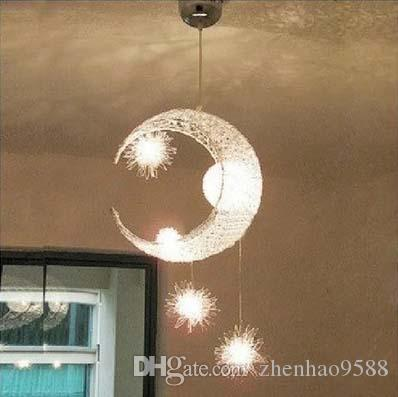 Modern Personalized Moon Star Chandelier Children Bedroom Lustres Hanging  Ceiling Lamp Home Decorative Fixture Lighting Blue Pendant Lights Retro  Pendant ...