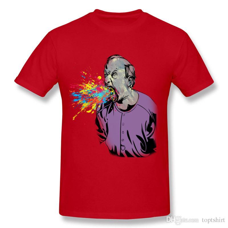hot sale online 4d240 c8e6d color splash Men T-Shirt Red Plus Size Hombre Hot Selling Adult Crazy T  Shirts Mens Orangic Cotton Casual T Shirts Printed