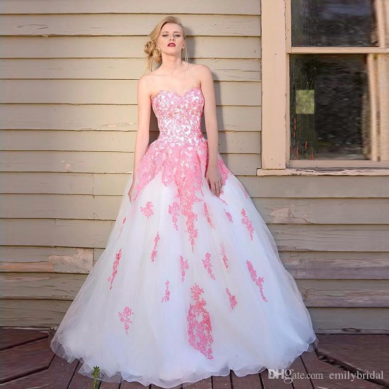 45bea501f117c Pretty Ball Gown Prom Dresses Abendkleider 2017 Pink Lace Applique ...