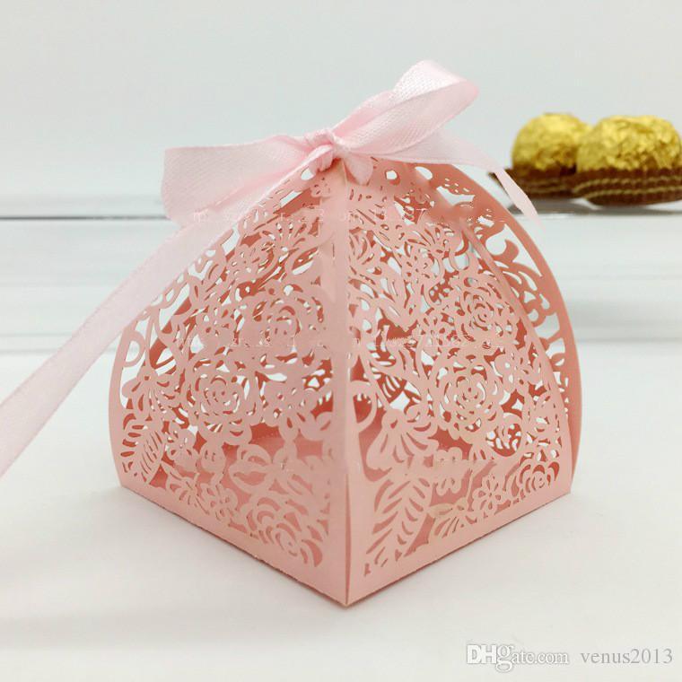 زفاف لصالح مربع الحلوى مصغرة ليزر محفورة هدية مربع حزب الحسنات الإبداعية الشوكولاته مربع علب الهدايا الزخرفية يمكن وضع 2 قطعة فيريرو روشيه