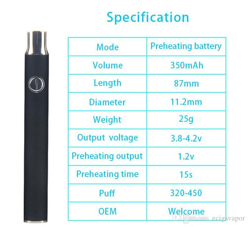 2017 Newest Preheating Battery 350mah vs CE3 Touch Vape O pen Variable Voltage 2.4-3.2-4.0v Preheat Vaporizer vape Battery blister kit