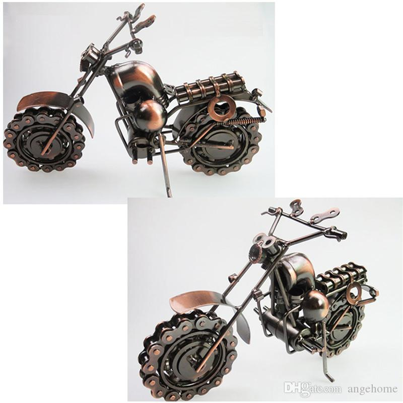 large size hand made iron art antique bronze metal harley motorcycle