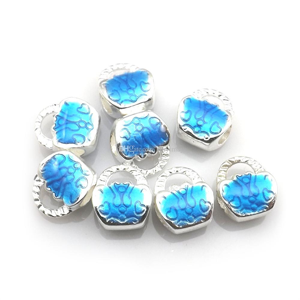 Argent Tone Sac à main Forme Perles européennes émail Charme perles Fit bijoux bricolage