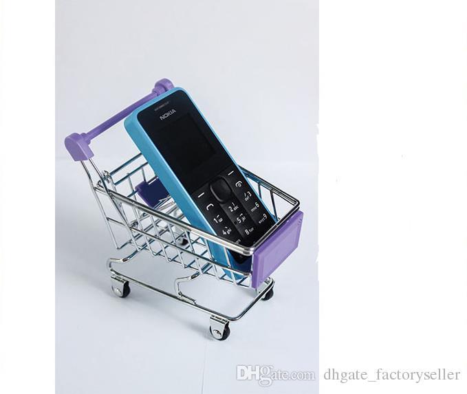 Mode Mini Supermarché Chariots à main Mini Panier Panier Décoration Bureau Téléphone Support Titulaire Bébé Jouet