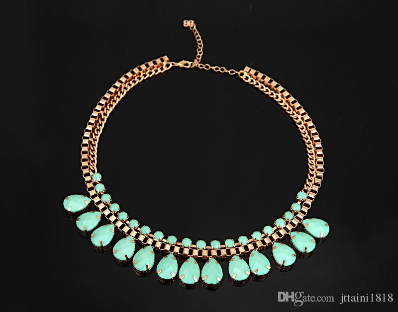 2017 euramerican popularity manufacturers selling big black women chain thick green gem crystal pendant necklace for women #N039