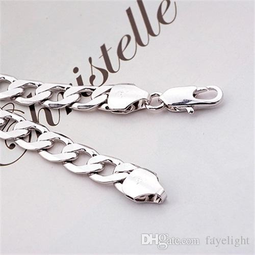 Cadena de bordillo de cadena de bordillo de moda para hombre con oro blanco de 24k real 8mm enlace 32G tamaño: 22 pulgadas, color: plateado