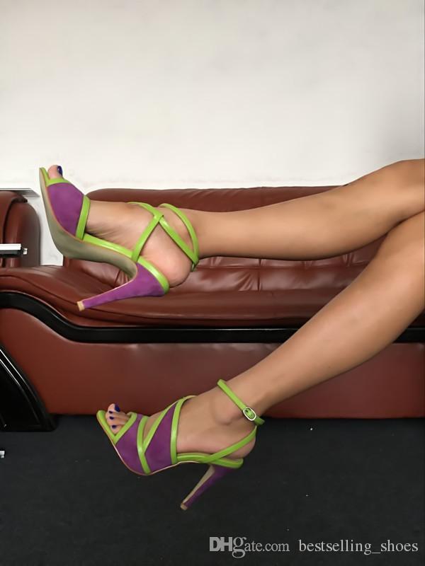 Hakiki Deri toka karışık renk kadın sandalet 2017 yeni varış moda vahşi bayanlar yüksek topuk sandalet