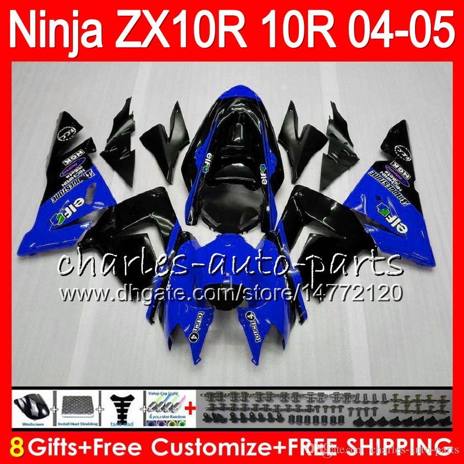 8Gifts Corpo KAWASAKI NINJA ZX1000C ZX 10R 04 05 06 07 35NO80 blu nero ZX10R 04 ZX1000 C ZX-10R ZX 10 R 2004 2005 Kit carenatura