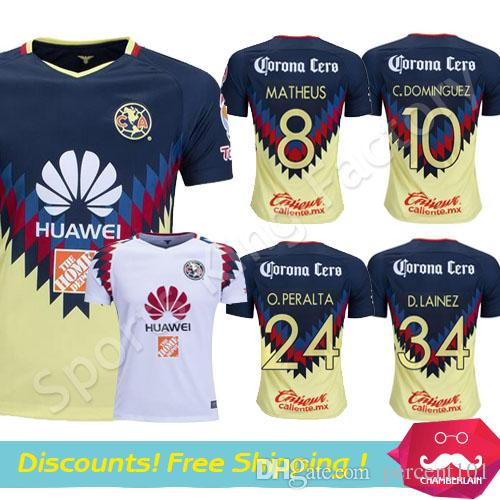 e72f1be3d 2019 Club America Aguilas 2018 Camiseta De Futbol Mexican League Soccer  Jersey Thai Quality 17 18 White Mexico American Club Football Shirts From  Percent101 ...