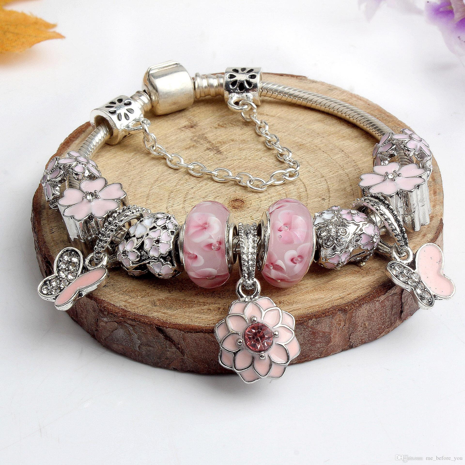 2017 Newest Popular Charm Bracelets Pink Flower Butterfly Style