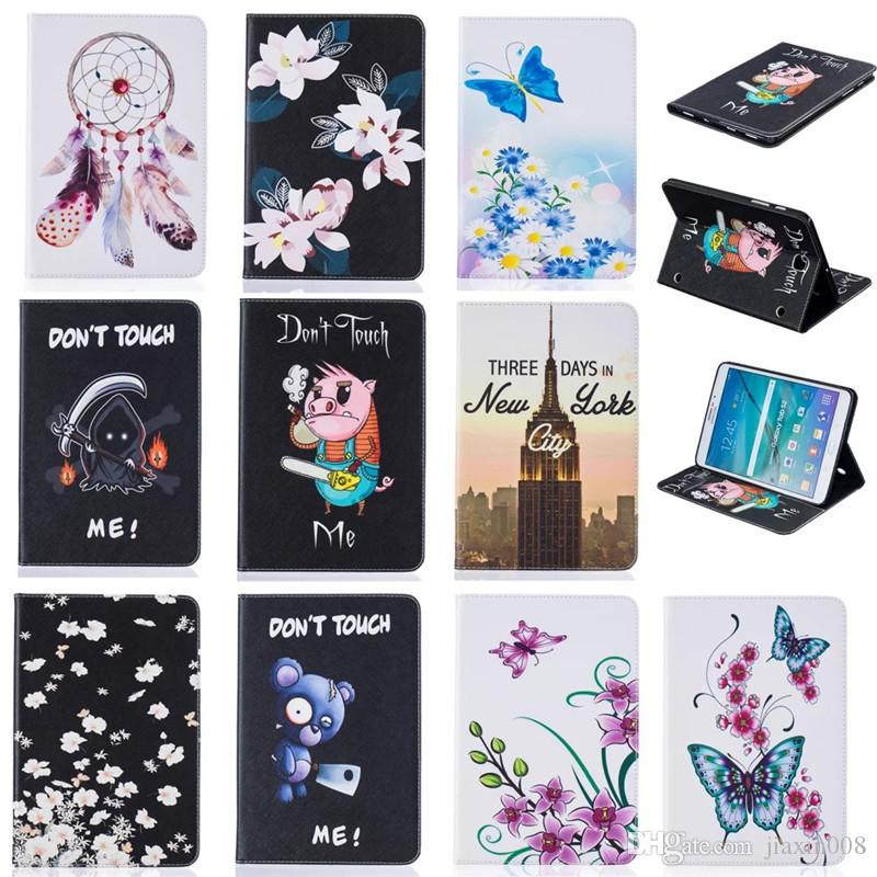 Tablet case For Samsung galaxy Tab S2 8.0 T710 Cover Wallet Stand Leather Case With Card Slot Painting Butterfly tower Blue Bear
