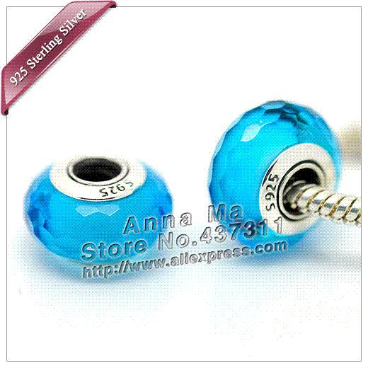 919356ea0c6 Wholesale S925 Sterling Silver Green Fascinating Faceted Murano Glass Beads  Charm Fit European Pandora Charm Bracelets Necklaces Z272 Long Pendant  Necklace ...