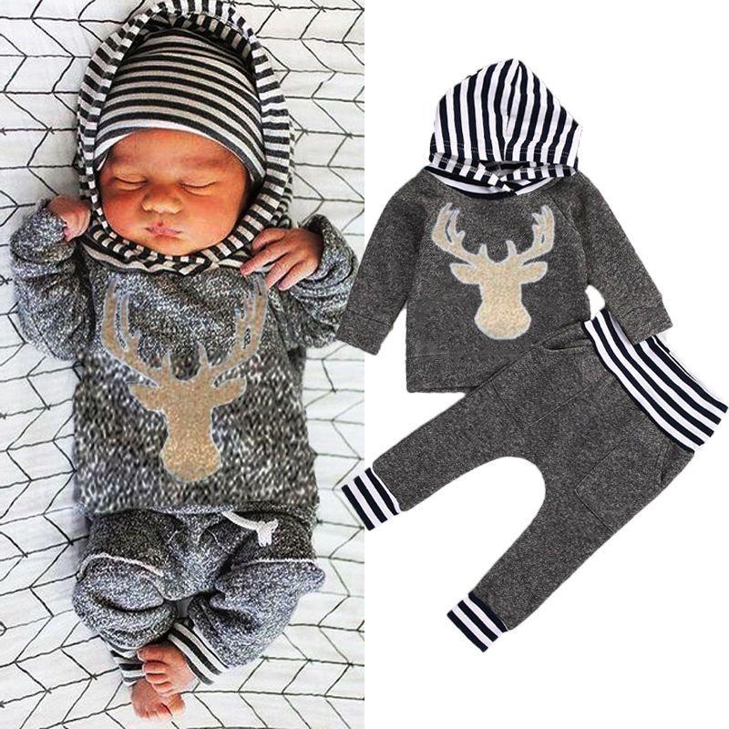 8b83dcbcb 2019 Fashion Kid Clothes Newborn Baby Boy Girl Clothes Deer Hooded ...