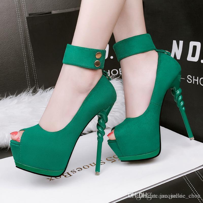 ec7a3dc5569 Fashion Ultra High Platform Nightclub Dress Shoes Sexy Peep Toe 14cm ...