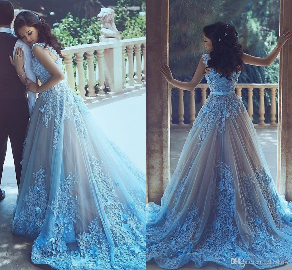 Fashion style Blue light lace prom dress for woman