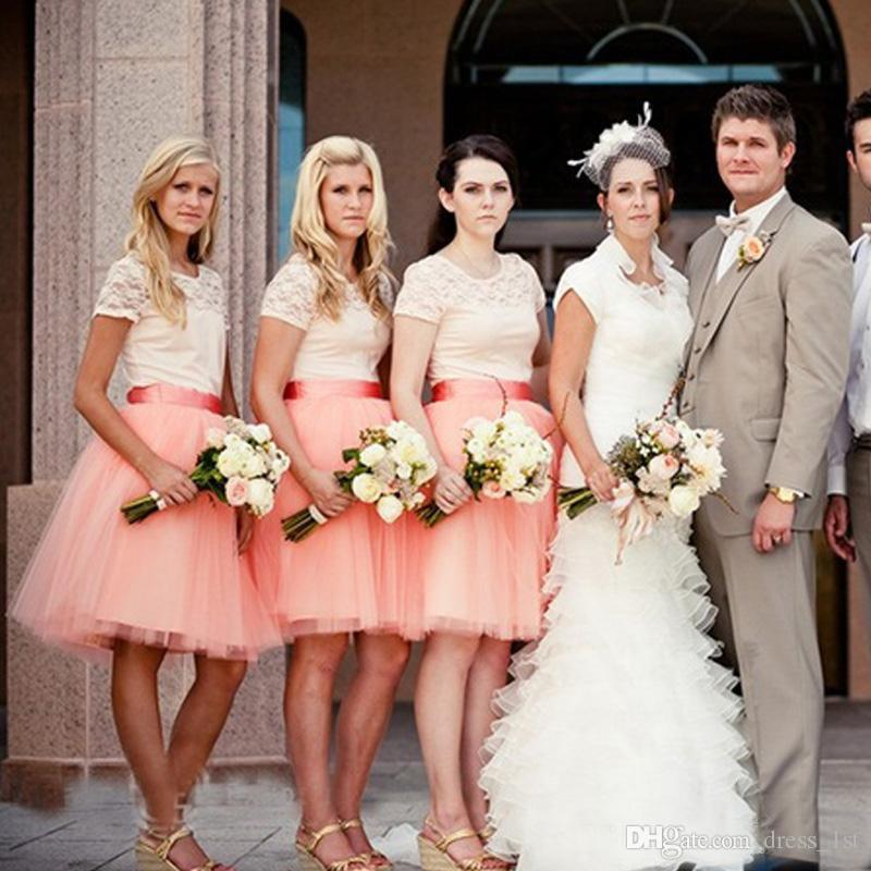 Beige Lace Top Coral Tulle Knee Length Bridesmaid Dresses 2017 Modest Short Sleeve Short Maid Of Honor Gown Custom Made China EN62210
