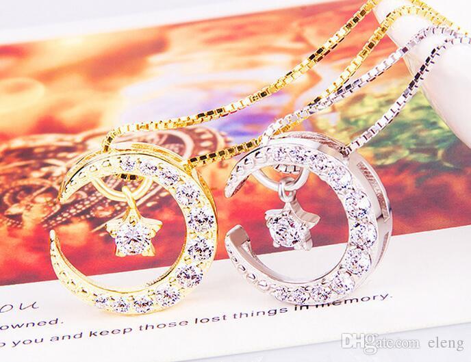 2018 moda requintado 925 estrela de prata flexível pingente colares para presente namorada colar de corrente de clavícula 265