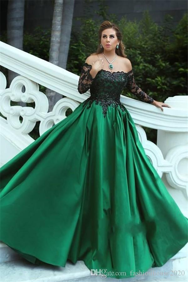 2018 Sexy Green Black Ball Gown Evening Dresses Off Shoulder Long Sleeves Beaded Lace Satin Plus Size Prom Gowns Wear Formal Party Dresses