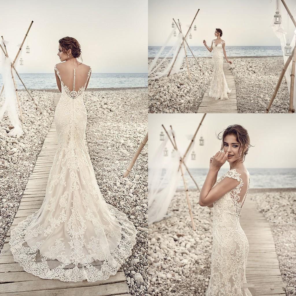 Eddy K Vintage Lace Applique Mermaid Bridal Beach Wedding Dresses 2017 Ilusion Back V Neck Cap Sleeve Summer Holiday Gowns A Dress