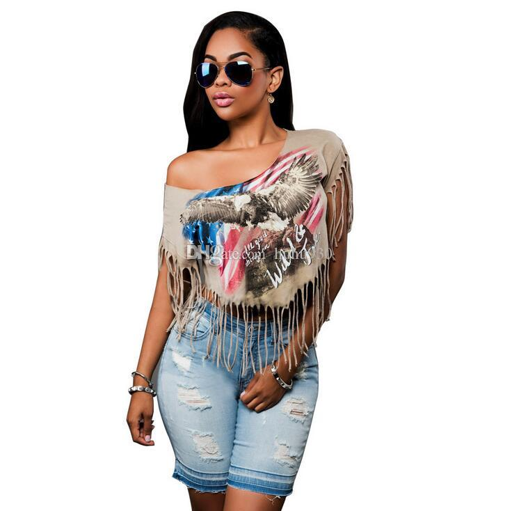 2017 Summer Fashion American Flag Eagle Print Short Sleeve Tassels T Shirt Women Sexy Club Crop Tops Irregular Punk Rock T-Shirt