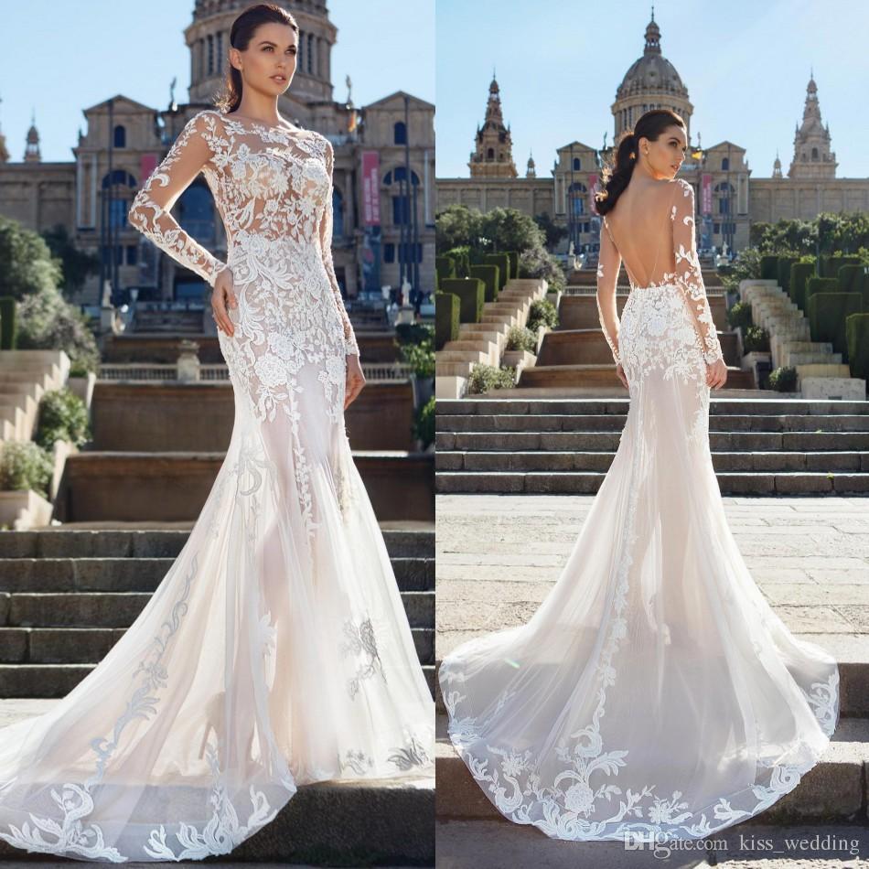 New See Through Mermaid Wedding Dresses Sexy Backless Long Marriage Gown  For Brides Vestido De Novia Boho Beach Sheer Round Neck Wedding Dress Tea  Length ... 3a91e1e330eb