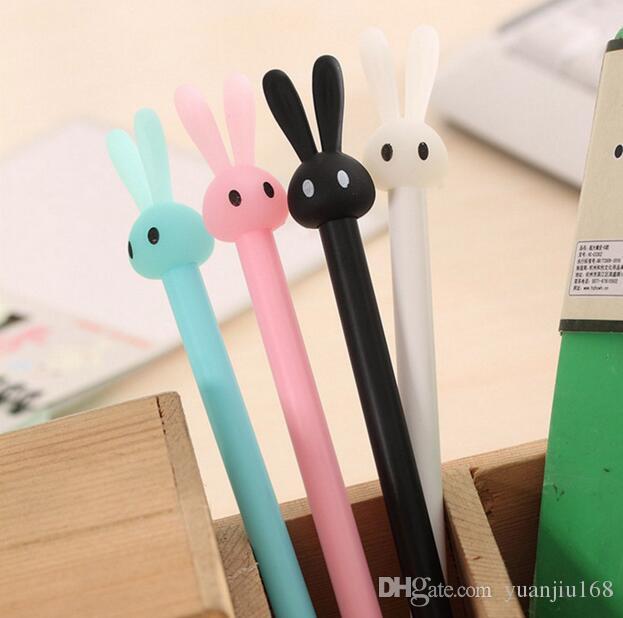 0.5mm Cute Kawaii Plastic Gel Pens Lovely Cartoon Rabbit Pen For Kids Writing Gift Korean Stationery G1185