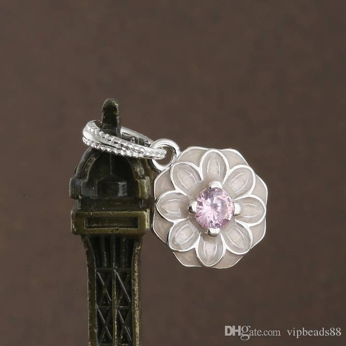 Esmalte rosa primavera flores Pingente de charme 100% 925 Sterling-Silver-Jóias Símbolos Claros Contas DIY Pulseiras Acessórios