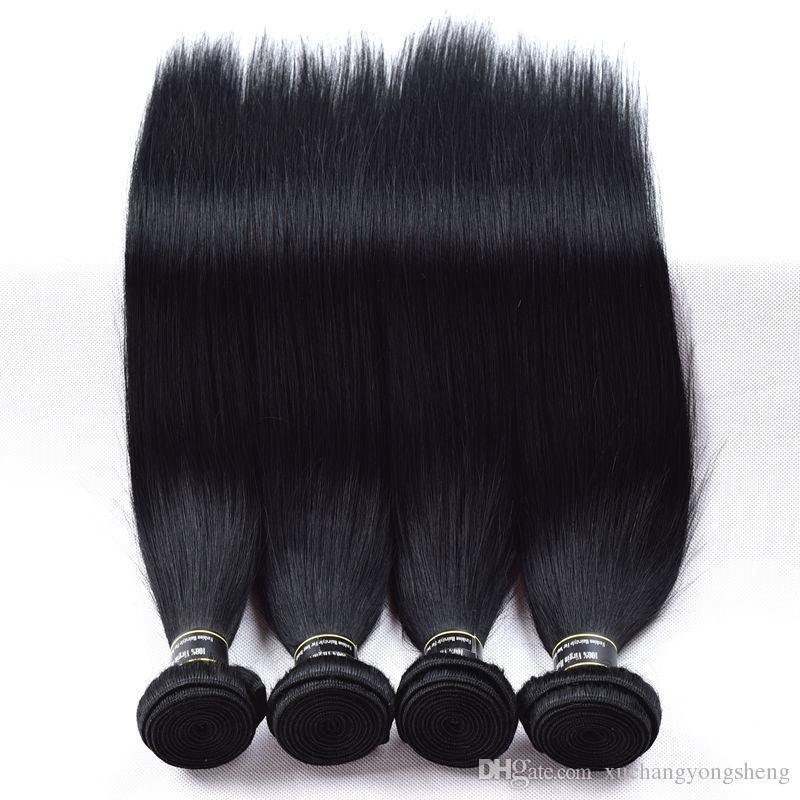 Jet Black Brazilian Straight Hair Extensions Top Grade Jet Black Virgin Hair Bundles deals Tissage Bresilienne Human Hair Weave