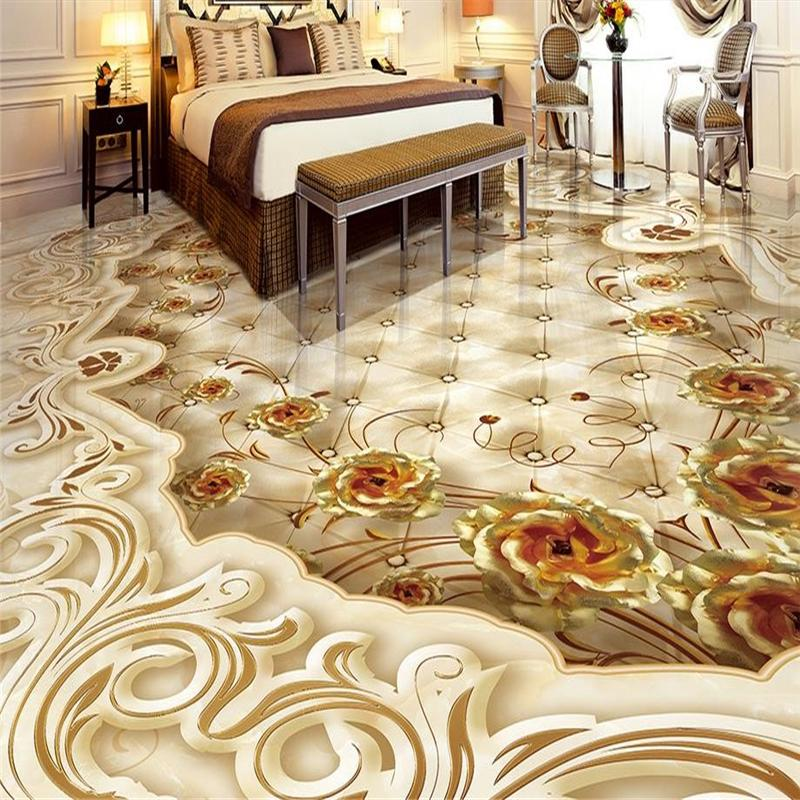Wholesale Custom 3d Flooring Golden Rose Shading 3d Floor
