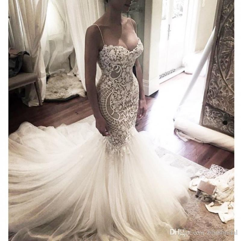 Mermaid Style Wedding Gowns: Gorgeous Mermaid Style Lace Appliques Tulle Wedding Dress