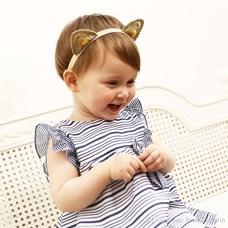 Cute Gold Lace Cat Ears Baby Headbands Hairbands Newborn Infant Hair Accessories Kids Hair Accessories Beautiful HuiLin BH02