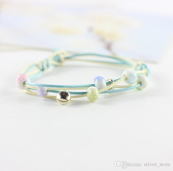 Art novels fresh ceramic creative ice crack bead bells simple fashion bracelet female FB112 a Charm Bracelets