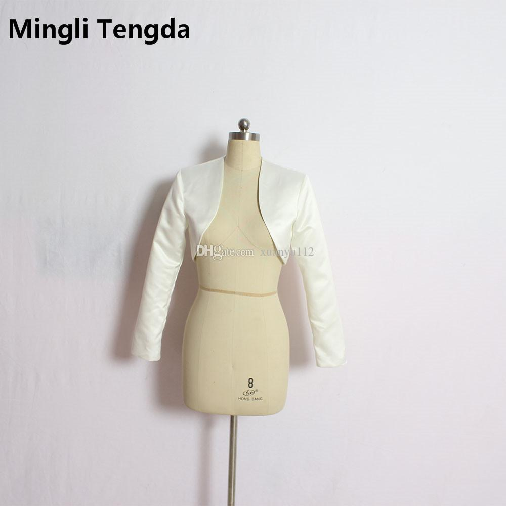 Mingli Tengda Elegant 3 4 Maniche lunghe da sposa Bolero Satin Wraps da  sposa Giacche da sposa da donna Shrug Coat Jacket New Wrap Bolero 2018 de085ea0ce3d