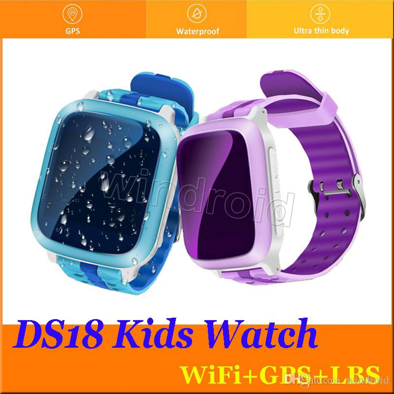 Cheapest DS18 Smart Phone GPS wifi Watch Children Kid Wristwatch GSM GPS WiFi Locator Tracker Anti-Lost Smartwatch Child For iOS Android 50