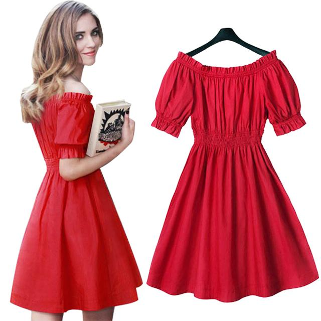 Wholesale New Summer Dress 2017 Cute Off Shoulder Red Sexy Party Dresses  Kawaii Puff Sleeve Robe Casual Vestidos Plus Size Women Dress UK 2019 From  Cacy 2745a1404eba