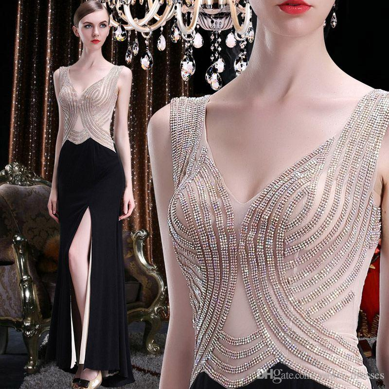 Sexy con cuello en V vestidos largos de baile 2017 Sheer Floor Length Side Split noche Celebrity vestidos formales envío rápido