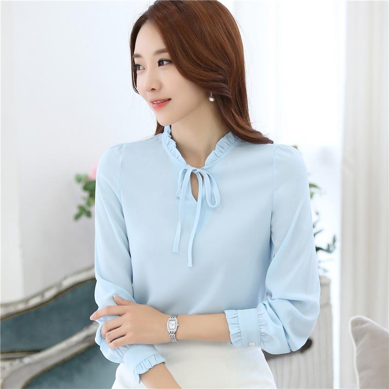 2018 Female Spring Autumn Korean Blouse Bow Ruffled Chiffon Shirt Long Sleeve Shirts Plus Size