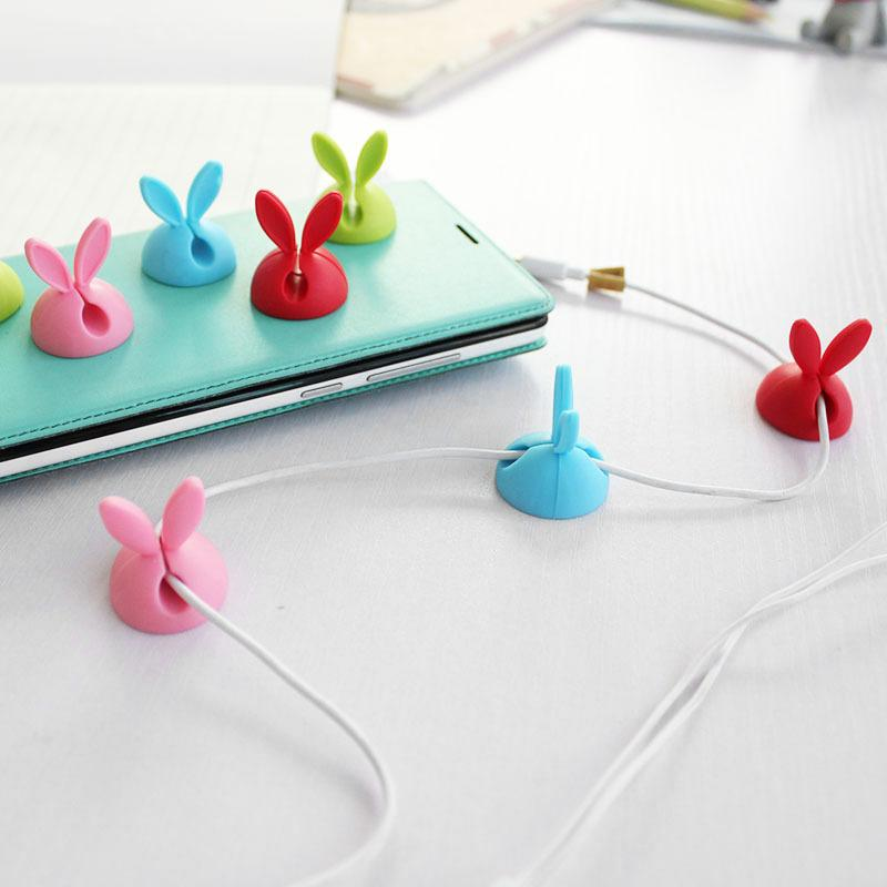 Slicone Rabbit Cable Clip Earphone & Cable Storage Clips Desktop Wire Organizer Winder Collation Home Storage Helper