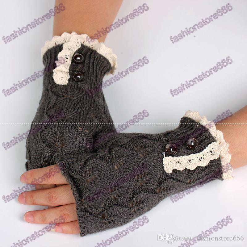 Gants sans doigts élégants chauds creux gants d'armure avec boutons dentelle Wram gants tricotés cadeaux pour filles femmes dames