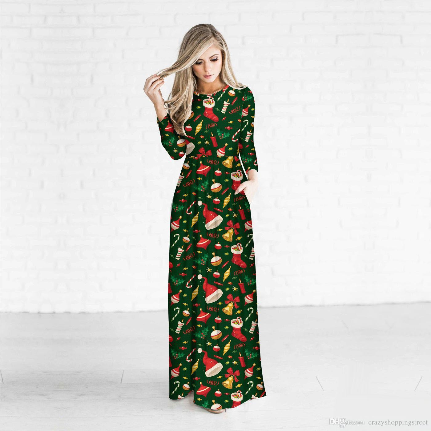 dbb10613017ab Satın Al Şık Noel Dekorasyon Giyim Dijital Baskı Uzun Kollu Günlük  Elbiseler Sonbahar Ve Kış Kişilik Uzun Elbise Kadınlar, $22.62    DHgate.Com'da
