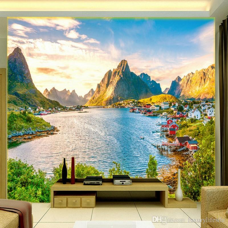 Beautiful Living Room Wallpaper Part - 44: 3d Stereo Custom Hd Beautiful Scenery European Style Harbor Fashion  Background Living Room Wallpaper Mural Pc Widescreen Wallpaper Phone  Wallpaper From ...