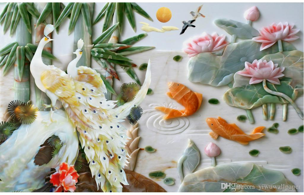 home bedroom decoration marble relief bamboo peacock fashion decor home decoration for bedroom
