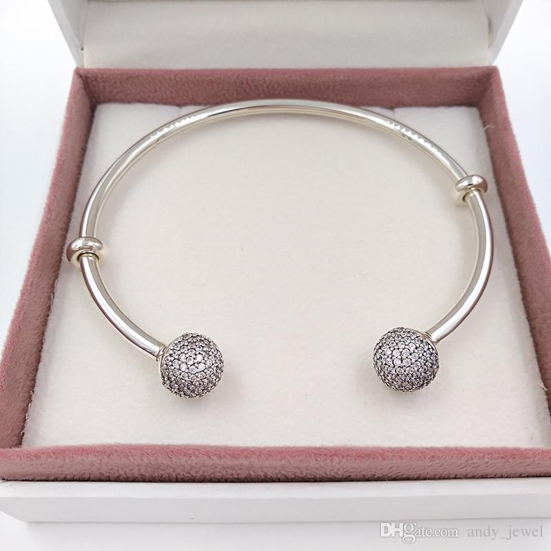Authentic 925 Sterling Silver Moments Silver Open Bangle With Pave Caps Fits European Pandora Style Jewelry Charms Beads 596438CZ