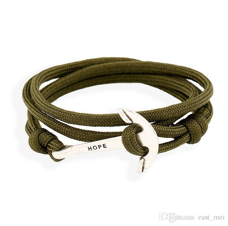 Brand new Selling fashion sailing navy wind anchor woven nylon bracelet FB072 a Charm Bracelets