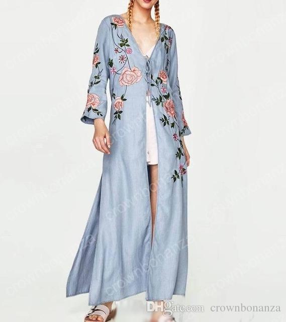 Marca De Moda 2018 Verano Nuevas Mujeres Casual Maxi Robe Vestido Largo  Bordado Kimono Vestidos A  29.15 Del Crownbonanza  276173c153d4